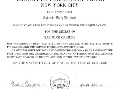 BACHELOR OF MUSIC DIPLOMA